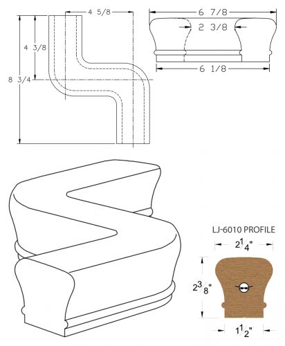 LJ-7048: Conect-A-Kit Right Hand S Fitting / Offset for LJ-6010 Handrail CAD Drawing