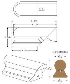 LJ-7109: Conect-A-Kit Returned End for LJ-6109 Handrail CAD Drawing