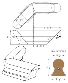 LJ-7111-135: Conect-A-Kit 135° Level Turn for LJ-6109 Handrail CAD Drawing