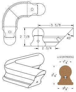 LJ-7111: Conect-A-Kit 90° Level Quarterturn for LJ-6109 Handrail CAD Drawing