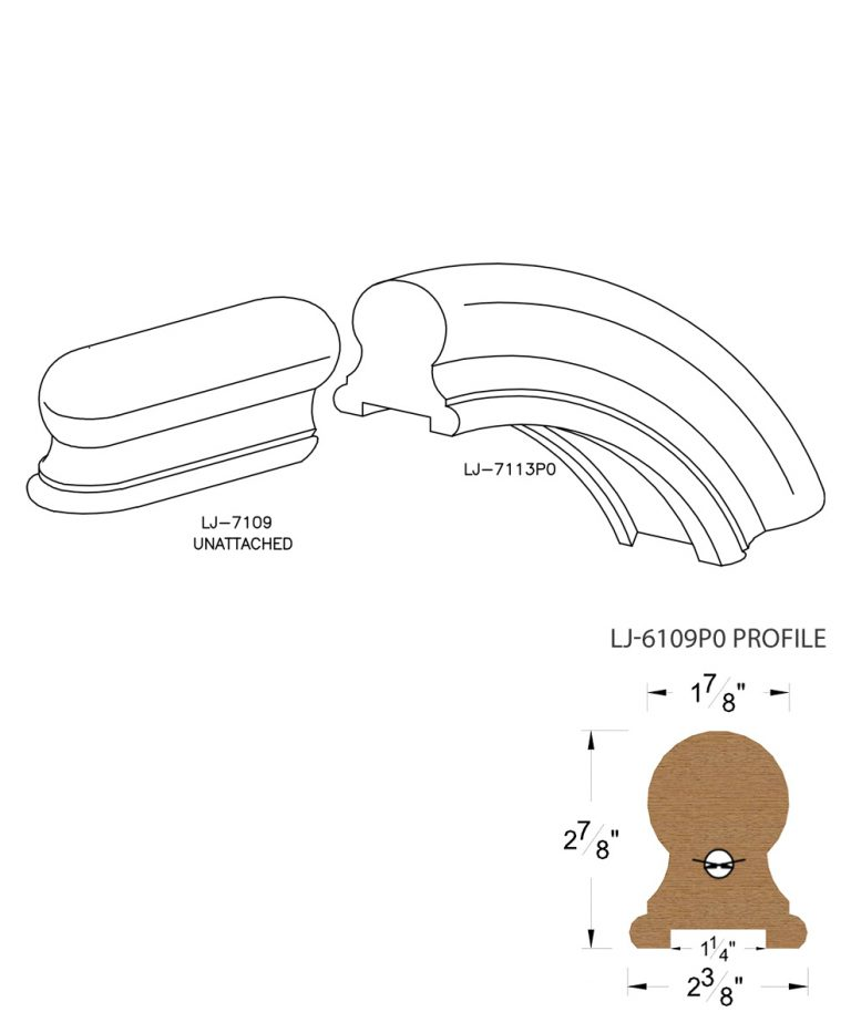 """LJ-7116P0: Conect-A-Kit Starting Over Easing for LJ-6109P0 - 1 1/4"""" Plowed Handrail CAD Drawing"""