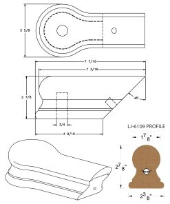 LJ-7119: Conect-A-Kit Opening Cap for LJ-6109 Handrail CAD Drawing