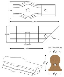 LJ-7120: Conect-A-Kit Tandem Cap for LJ-6109 Handrail CAD Drawing