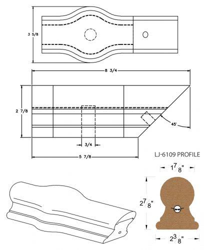 LJ-7120: Conect-A-Kit Tandem Cap for LJ-6109 Handrail CAD Drawing