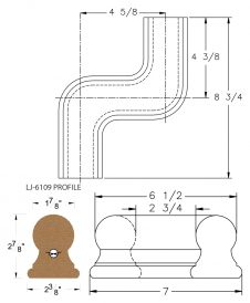 LJ-7147: Conect-A-Kit Left Hand S Fitting / Offset for LJ-6109 Handrail CAD Drawing
