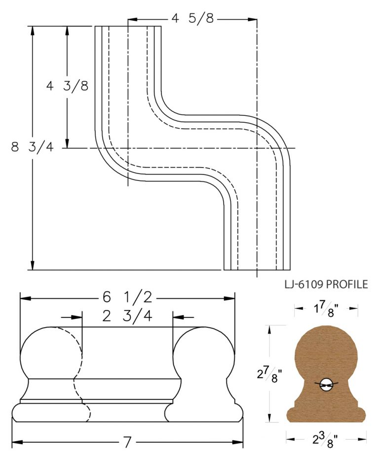 LJ-7148: Conect-A-Kit Right Hand S Fitting / Offset for LJ-6109 Handrail CAD Drawing