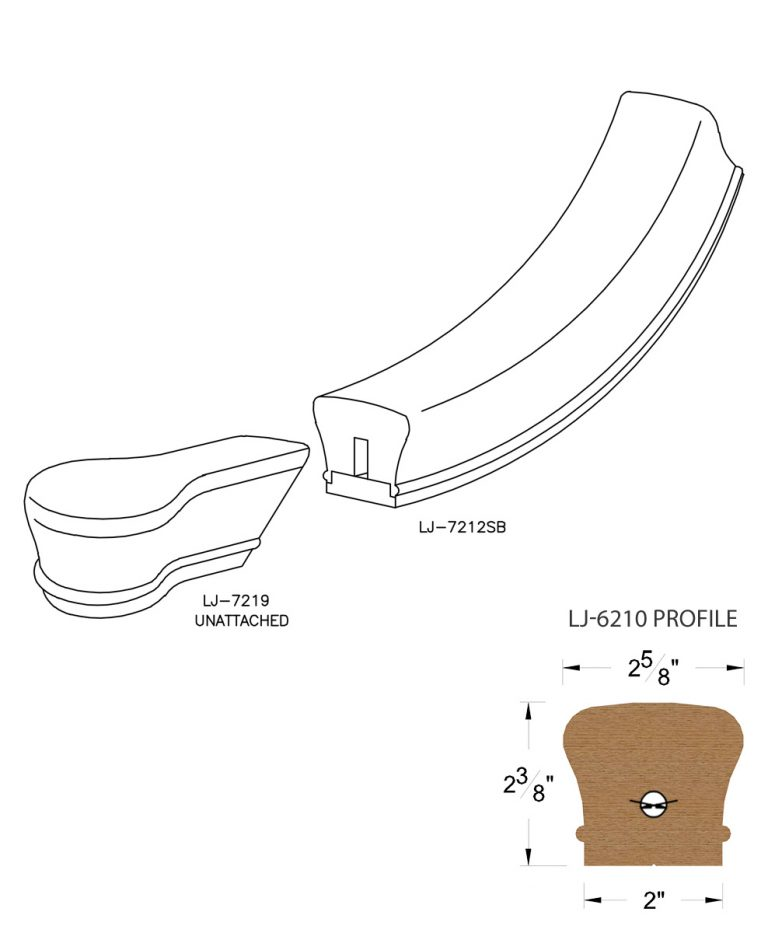 LJ-7210SB: Conect-A-Kit Starting Easing with Cap for LJ-6210 Handrail CAD Drawing