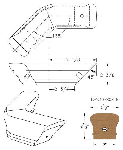 LJ-7211-135: Conect-A-Kit 135° Level Turn for LJ-6210 Handrail CAD Drawing
