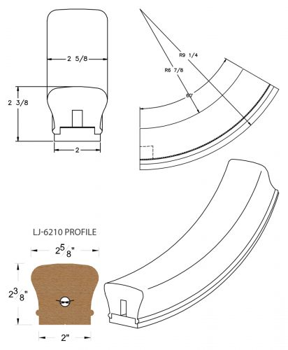 LJ-7212SB: Conect-A-Kit 60° Upeasing for LJ-6210 Handrail CAD Drawing