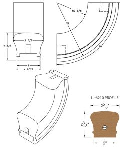 LJ-7214SB: Conect-A-Kit 90° Upeasing for LJ-6210 Handrail CAD Drawing