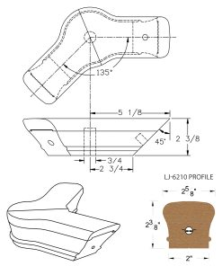 LJ-7221-135: Conect-A-Kit 135° Level Turn with Cap for LJ-6210 Handrail CAD Drawing