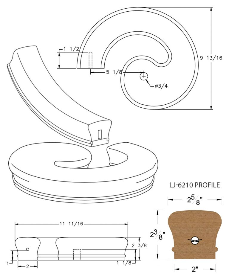 LJ-7230SB: Conect-A-Kit Left Hand Volute for LJ-6210 Handrail CAD Drawing