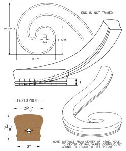 LJ-7236: Right Hand Climbing Volute for LJ-6210 Handrail CAD Drawing