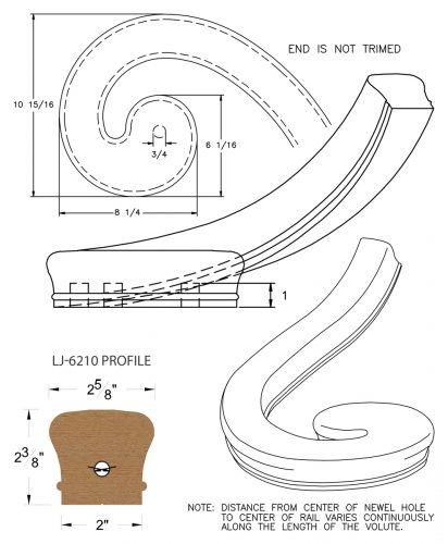 LJ-7236: Right Hand Climbing Volute for LJ-6210 Handrail CAD Drawing