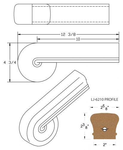 LJ-7238: Vertical Volute for LJ-6210 Handrail CAD Drawing
