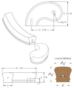 """LJ-7240SB: Conect-A-Kit 5"""" Left Hand Turnout for LJ-6210 Handrail CAD Drawing"""