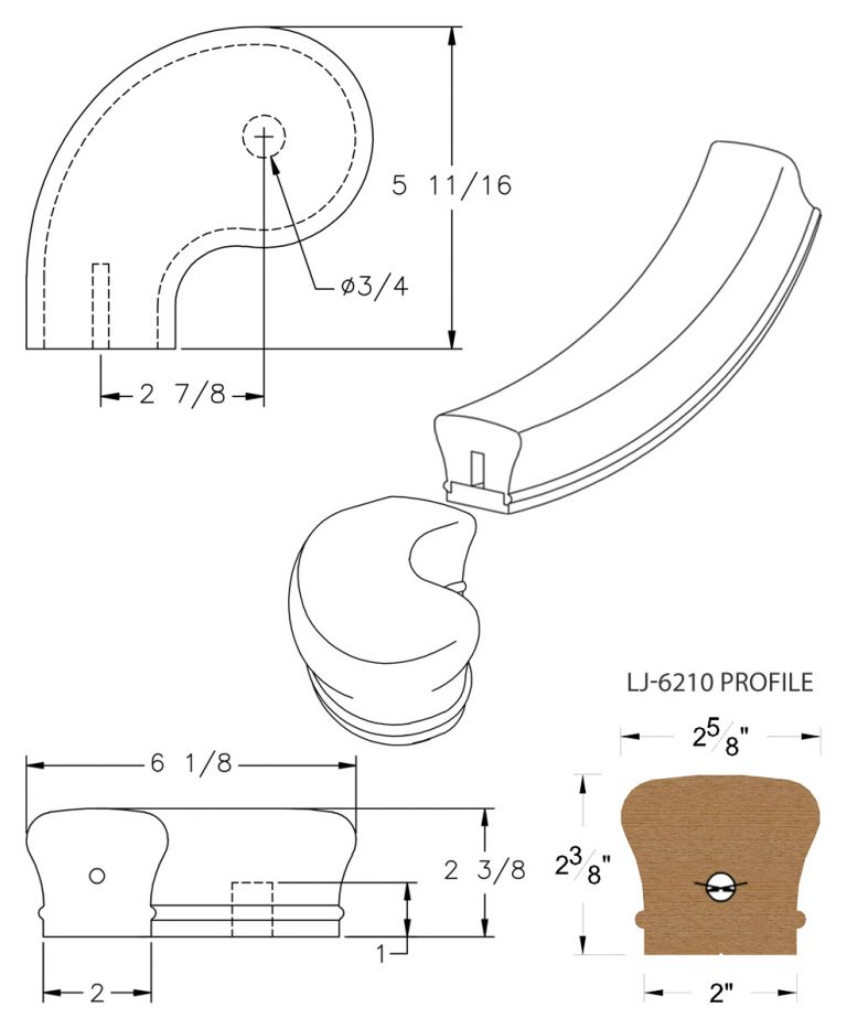 """LJ-7241SB: Conect-A-Kit 3"""" Left Hand Turnout for LJ-6210 Handrail CAD Drawing"""