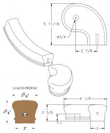 "LJ-7246SB: Conect-A-Kit 3"" Right Hand Turnout for LJ-6210 Handrail CAD Drawing"