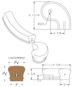 """LJ-7246SB: Conect-A-Kit 3"""" Right Hand Turnout for LJ-6210 Handrail CAD Drawing"""