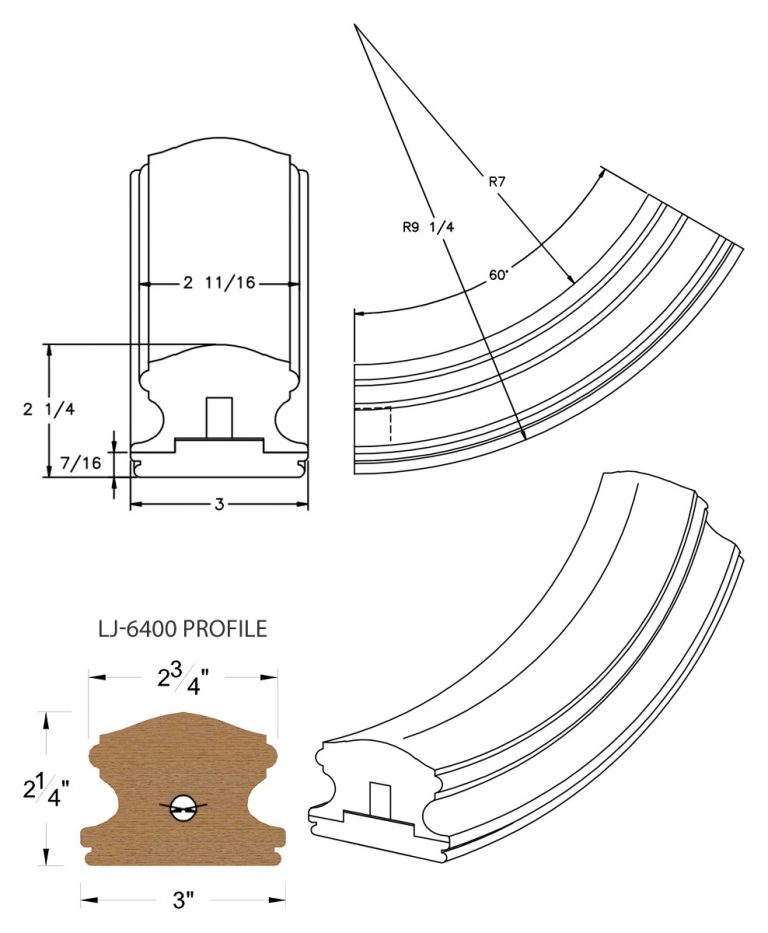 LJ-7412SB: Conect-A-Kit 60° Upeasing for LJ-6400 Handrail CAD Drawing