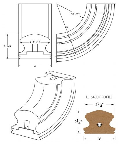 LJ-7414SB: Conect-A-Kit 90° Upeasing for LJ-6400 Handrail CAD Drawing