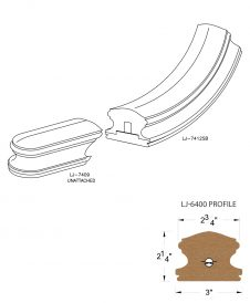 LJ-7415SB: Conect-A-Kit Starting Easing for LJ-6400 Handrail CAD Drawing
