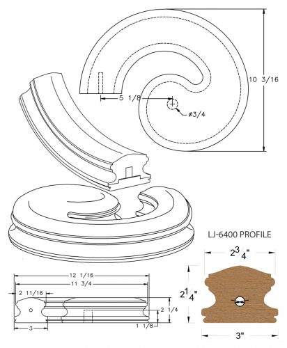LJ-7430SB: Conect-A-Kit Left Hand Volute for LJ-6400 Handrail CAD Drawing