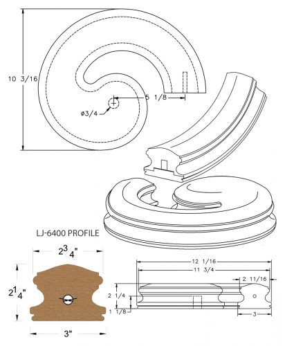 LJ-7435SB: Conect-A-Kit Right Hand Volute for LJ-6400 Handrail CAD Drawing