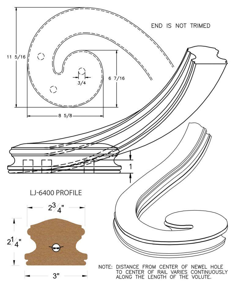 LJ-7436: Right Hand Climbing Volute for LJ-6400 Handrail CAD Drawing