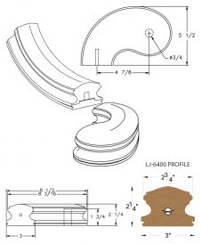 """LJ-7440SB: Conect-A-Kit 5"""" Left Hand Turnout for LJ-6400 Handrail CAD Drawing"""