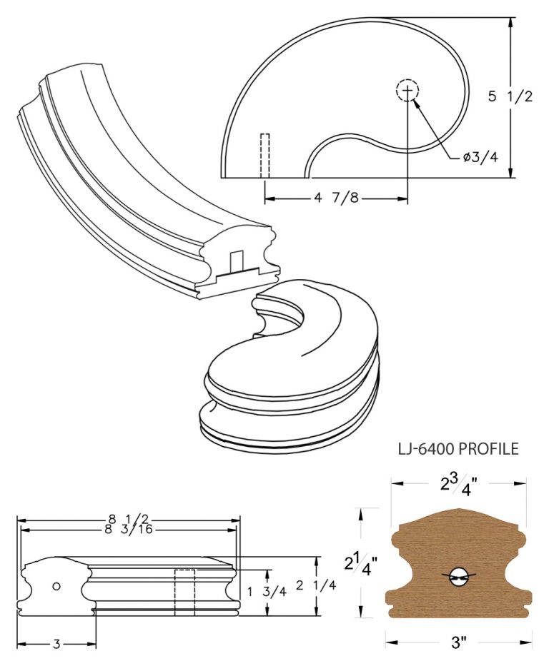"LJ-7440SB: Conect-A-Kit 5"" Left Hand Turnout for LJ-6400 Handrail CAD Drawing"