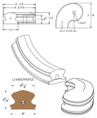 "LJ-7441SB: Conect-A-Kit 3"" Left Hand Turnout for LJ-6400 Handrail CAD Drawing"