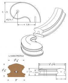 """LJ-7445SB: Conect-A-Kit 5"""" Right Hand Turnout for LJ-6400 Handrail CAD Drawing"""
