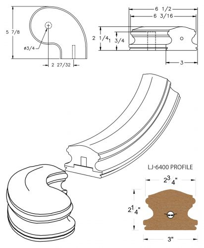 """LJ-7446SB: Conect-A-Kit 3"""" Right Hand Turnout for LJ-6400 Handrail CAD Drawing"""