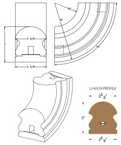 LJ-7514SB: Conect-A-Kit 90° Upeasing for LJ-6519 Handrail CAD Drawing
