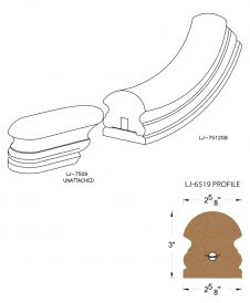 LJ-7515SB: Conect-A-Kit Starting Easing for LJ-6519 Handrail CAD Drawing