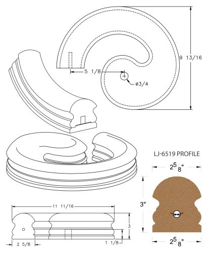 LJ-7530SB: Conect-A-Kit Left Hand Volute for LJ-6519 Handrail CAD Drawing