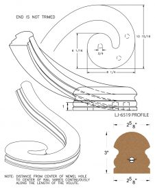 LJ-7531: Left Hand Climbing Volute for LJ-6519 Handrail CAD Drawing