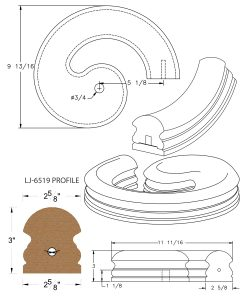 LJ-7535SB: Conect-A-Kit Right Hand Volute for LJ-6519 Handrail CAD Drawing