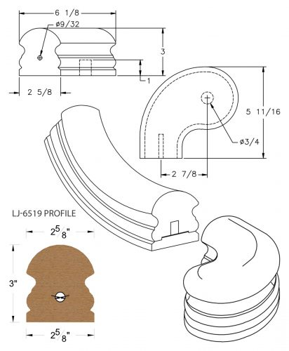 """LJ-7541SB: Conect-A-Kit 3"""" Left Hand Turnout for LJ-6519 Handrail CAD Drawing"""