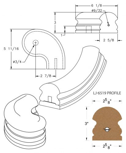 "LJ-7546SB: Conect-A-Kit 3"" Right Hand Turnout for LJ-6519 Handrail CAD Drawing"