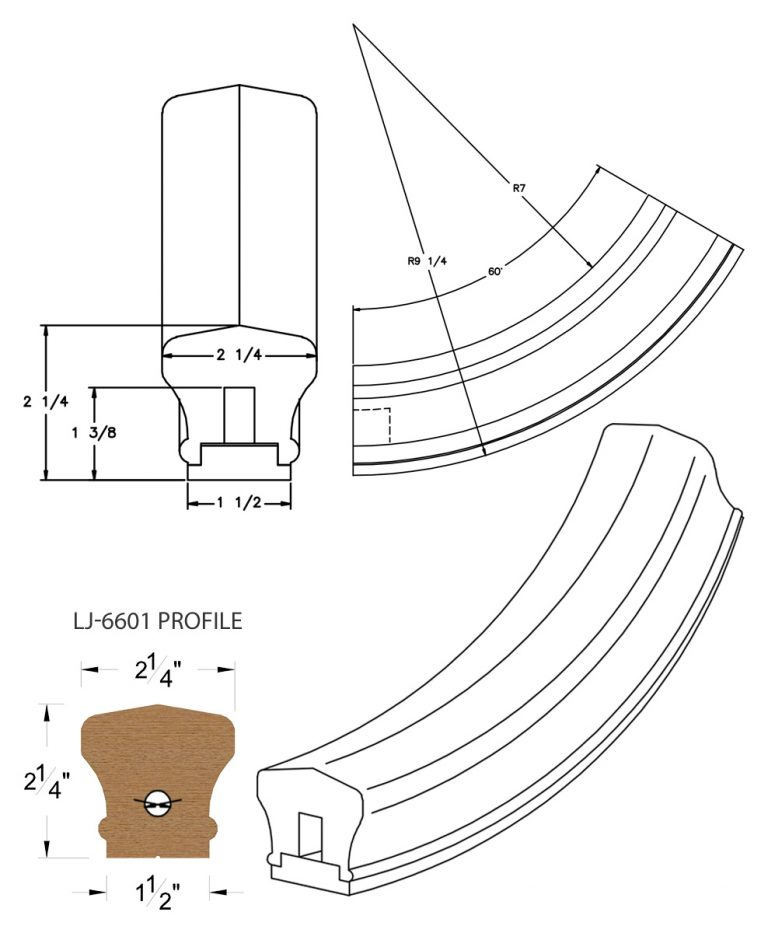 LJ-7612SB: Conect-A-Kit 60° Upeasing for LJ-6601 Handrail CAD Drawing