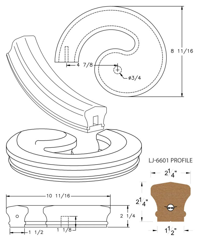 LJ-7630SB: Conect-A-Kit Left Hand Volute for LJ-6601 Handrail CAD Drawing