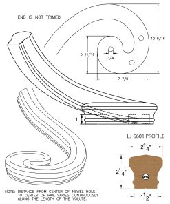 LJ-7631: Left Hand Climbing Volute for LJ-6601 Handrail CAD Drawing