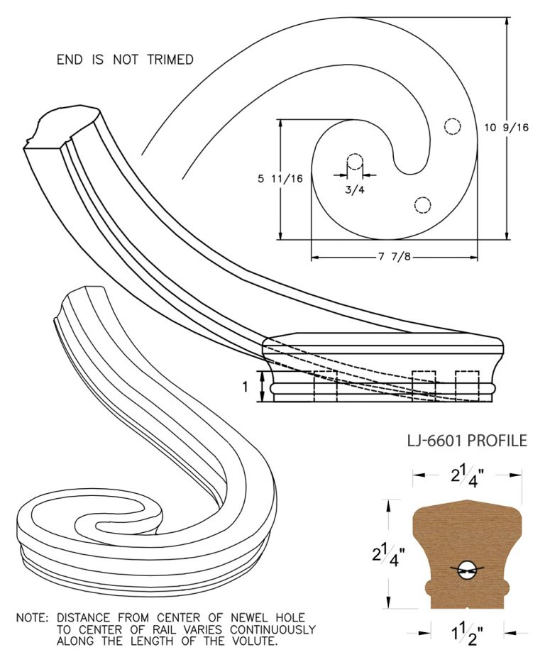 LJ-7631: Left Hand Climbing Volute for LJ-6601 Handrail CAD Drawing