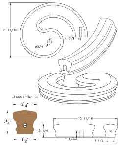 LJ-7635SB: Conect-A-Kit Right Hand Volute for LJ-6601 Handrail CAD Drawing