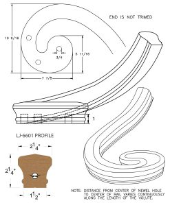 LJ-7636: Right Hand Climbing Volute for LJ-6601 Handrail CAD Drawing