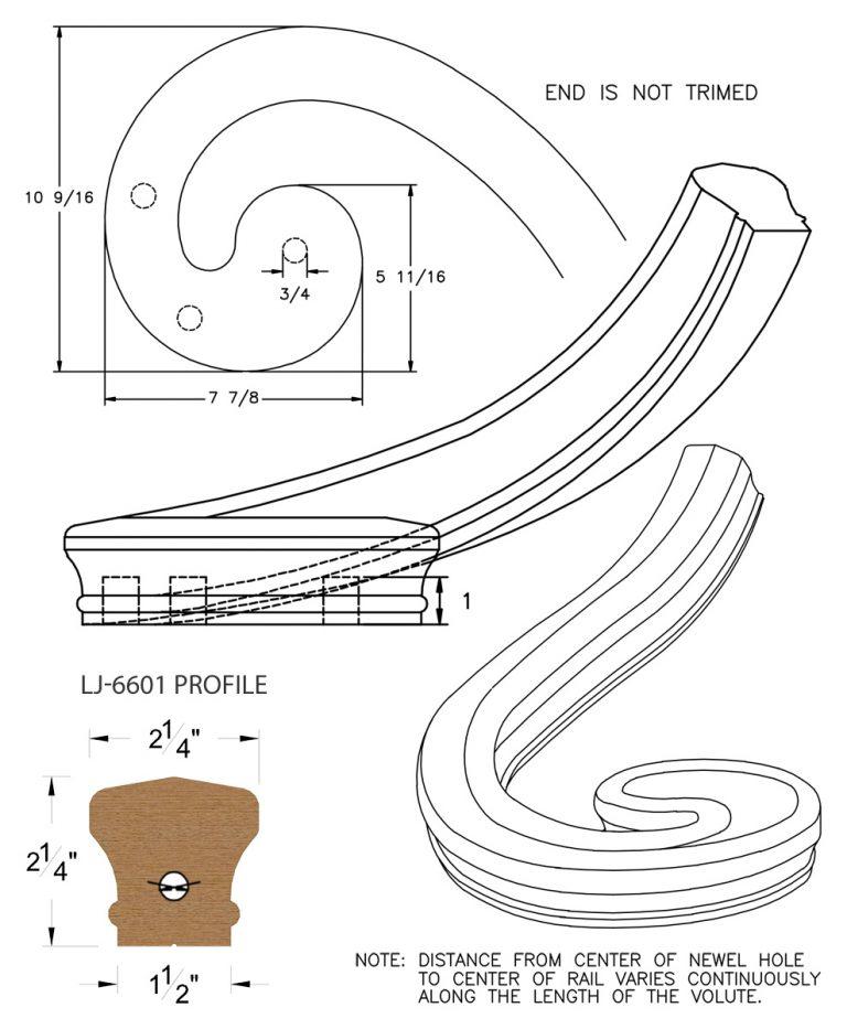 LJ-7636: Right Hand Climbing Volute for LJ-6601 Handrail CAD Drawing