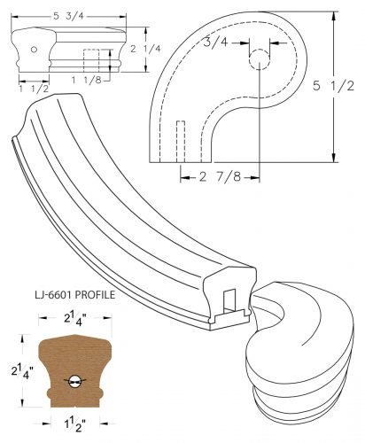 "LJ-7641SB: Conect-A-Kit 3"" Left Hand Turnout for LJ-6601 Handrail CAD Drawing"