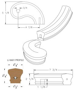 "LJ-7645SB: Conect-A-Kit 5"" Right Hand Turnout for LJ-6601 Handrail CAD Drawing"